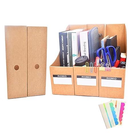 Revistero organizador de archivos de escritorio, caja de almacenamiento de papelería, 5 unidades