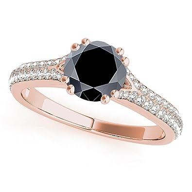 Black Diamond Wedding Ring.1 25 Ct Ttw Brilliant Black Diamond Engagement Ring In 14k Rose