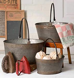 Colonial Tin Works Rustic Set of Three Round Buckets with Handles Home Décor, Multisizes, Gray
