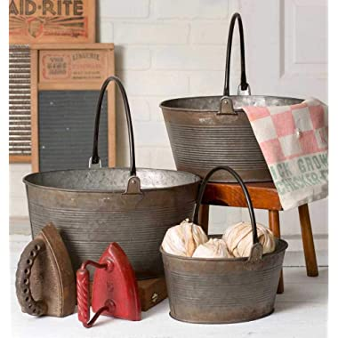 Rustic Set of Three Round Buckets with Handles
