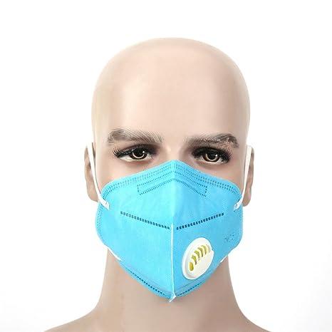 Máscara de respiración con ventilador Pack de 5 media cara boca caliente lavable filtros de carbón