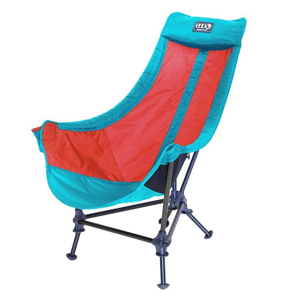 ENO Eagles Nest Outfitters – Lounger DLキャンプ椅子、アウトドアラウンジチェア、アクア/レッド B01N6U2O4A