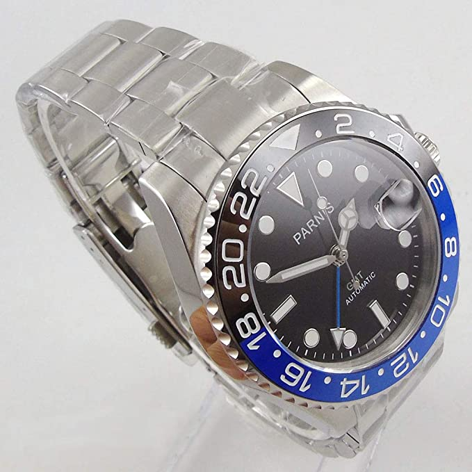 Uhrwerk Saphir Uhr 40 Schwarzes Automatik Luminous Keramik Parnis Gmt Zifferblatt Kristallblau Lünette Mm Steriles kZuOPTwXli