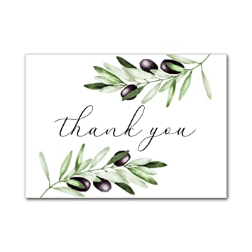 set of 12 thank you notes and envelopes bridal shower wedding watercolor black olive tree branch