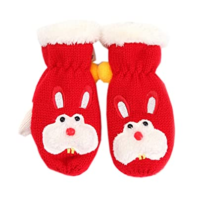 1-4 Years Child's Insulated Winter Gloves Double Layer Mittens, Red Rabbit
