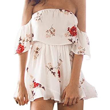 006e797406a Twinsmall Women Ladies Sexy Off Shoulder Playsuit Floral Print Pullover  Siamese Jumpsuit (S