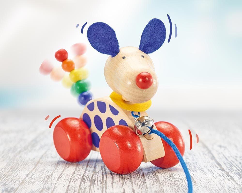 Nachzieh-Hund NicoSelecta 62026Nachziehtier HolzHolzspielzeug ab 10 Mon Holzspielzeug