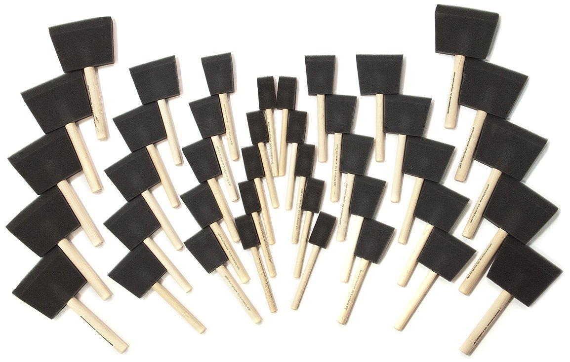 Jack Richeson 40 Pack - Asst Wood Handle Sponge Brush by Jack Richeson