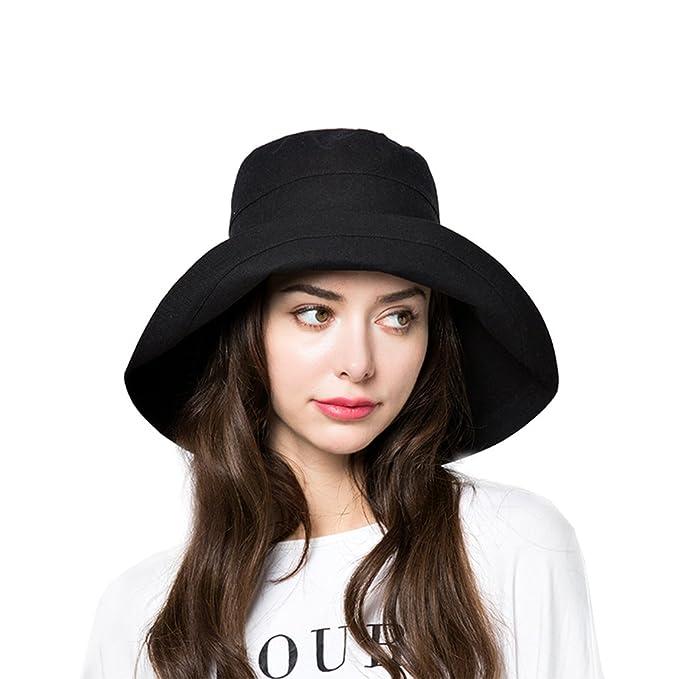 7251e57113 Sun Bucket Hat Women Summer Floppy Cotton Sun Hats Packable Beach Caps SPF  50+ UV