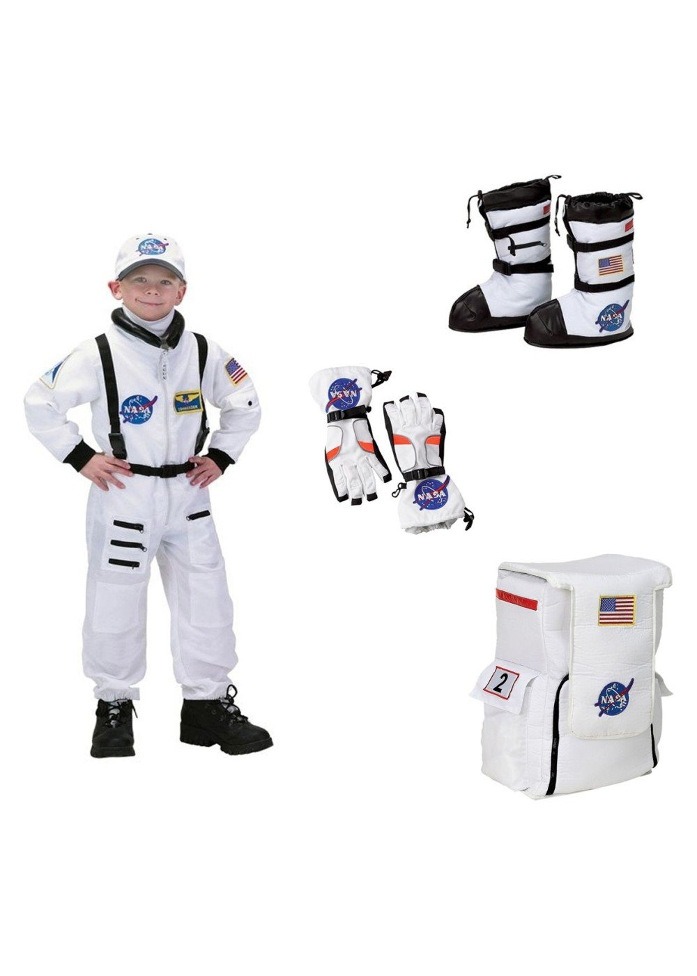 Big Boys' Astronaut Costume Gloves Boots and Backpack Nasa Set