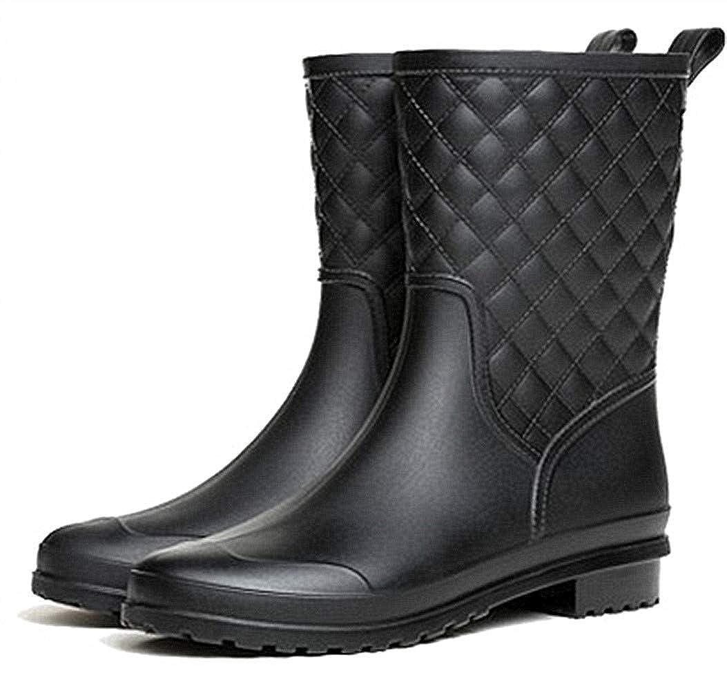 Bota Agua Mujer Hombre Chelsea Jard/ín Trabajo Lluvia Tobillo Botas Festival Antideslizante Wellington Boots Negro Marr/ón 34-43