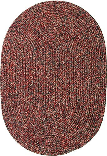 Sabrina Tweed Indoor Outdoor Oval Braided Rug, 2 by 3-Feet, Sangria