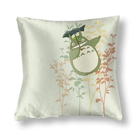 TANGGOOD Totoro Tema Square Funda de cojín de Seda Cojín ...