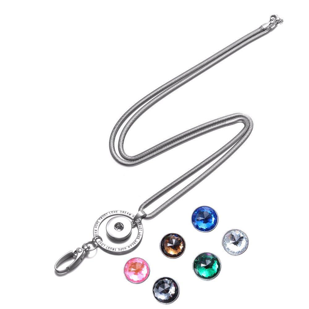portacarte con 9 pezzi bottoni a pressione Soleebee Catena in acciaio inossidabile da 80 cm Titolare della carta didentit/à Chiave con anello per cordino TRUST LOVE