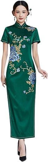 فستان Qipao النسائي الطويل من الحرير التقليدي من Cheongsam للحفلات المسائية 3280