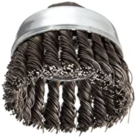 """Weiler Vortex Pro Wire Cup Brush, Threaded Hole, Carbon Steel, Partial Twist Knotted, 3"""" Diameter, 0.02"""" Wire Diameter, 5/8""""-11 Arbor, 14000 rpm (Pack of 1)"""