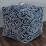 Rizzy Home POFP10382ID000002 Swirl Pattern with White Cotton Cording Square Pouf,Indigo