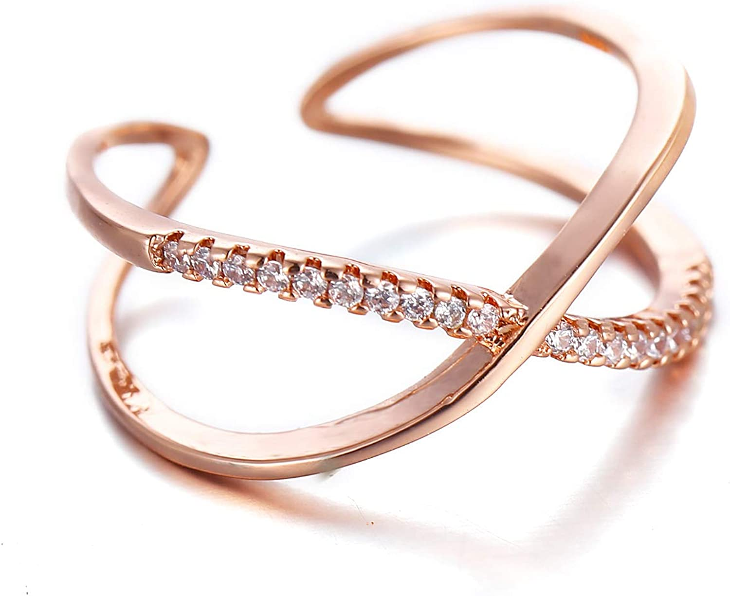 Cubic Zirconia Infinity Symbol Ring CZ Forever Endless Love Promise Band Ring Eternity Friendship Band Silver for Women Girls
