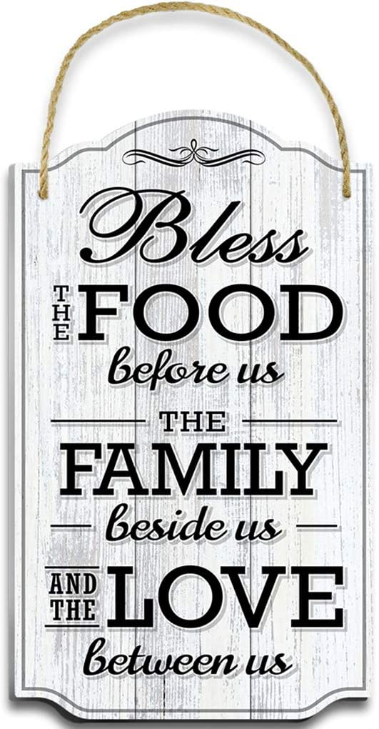 Bigtime Signs Bless Our Family Food Love - Heart Warming Quote - Strong PVC with Rope for Hanging - Country, Rustic House, Kitchen, Dining Wall Decor - Housewarming, Home Gifts - 8.5x14.5 Inch (White)