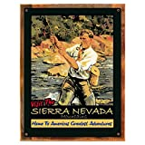 Wood-Framed Sierra Nevada Metal Sign: Travel Decor Wall Accent for kitchen on reclaimed, rustic wood