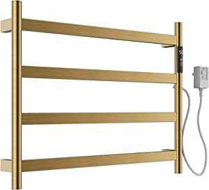 NJOLG Towel Warmer 4 Bars Electric Heated Towel Rack Wall Mount Plug-in/Hardwired Heated Towel Rail with Timer/Temperature Control/Built-in Carbon Fibre Heating Wires