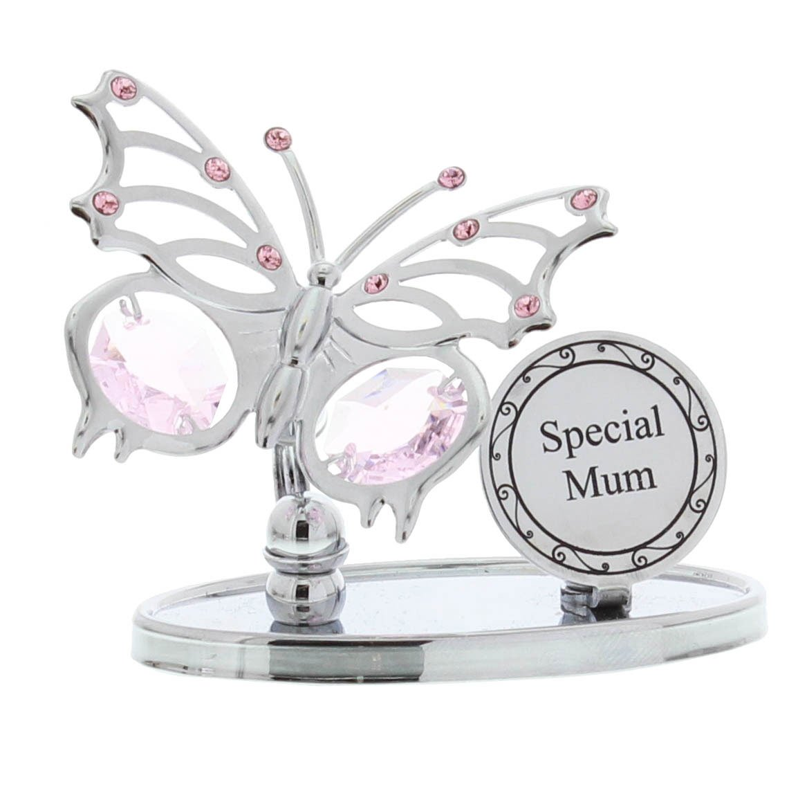 """Crystocraft /""""Special Nanna/"""" Freestanding Silver Plated Butterfly Ornament Made W"""