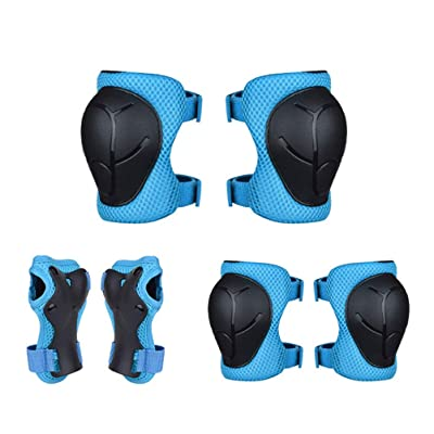 LIOOBO 6pcs Children's Skating Protective Gear Sports Protective Gear Knee Protector Elbow Pads Wrist Brace for Scooter Roller Skating(Blue) : Sports & Outdoors