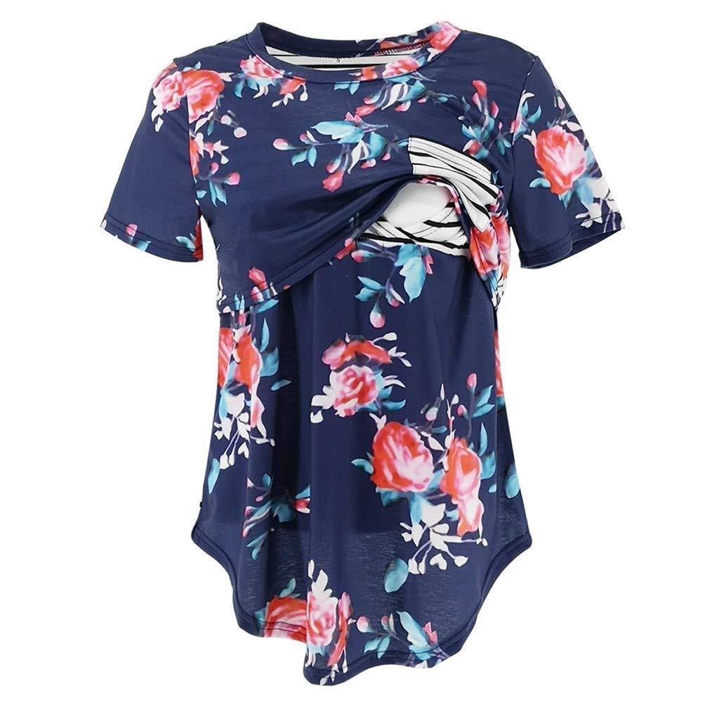 Breastfeeding Shirts Short Sleeve,Women's Pregnancy Splicing Stripe Floral Print T-Shirt Nursing Baby Top,Maternity Sleepwear,Black,L