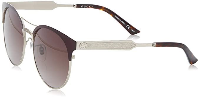 Amazon.com: Gucci anteojos de sol gg0075s 004 Borgoña/Gris ...