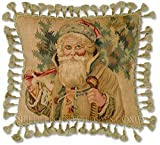 Williamsburg Antique Style Traditional Victorian Old Fashioned Santa Claus Saint Nick Handmade 100% Wool Father Christmas Tree Holiday Needlepoint Petitpoint Decorative Throw Pillow. 20'' x 20''.