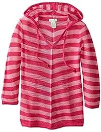 Caribbean Joe Women's Hooded Open Stitch Striped Long Sleeve Sweater