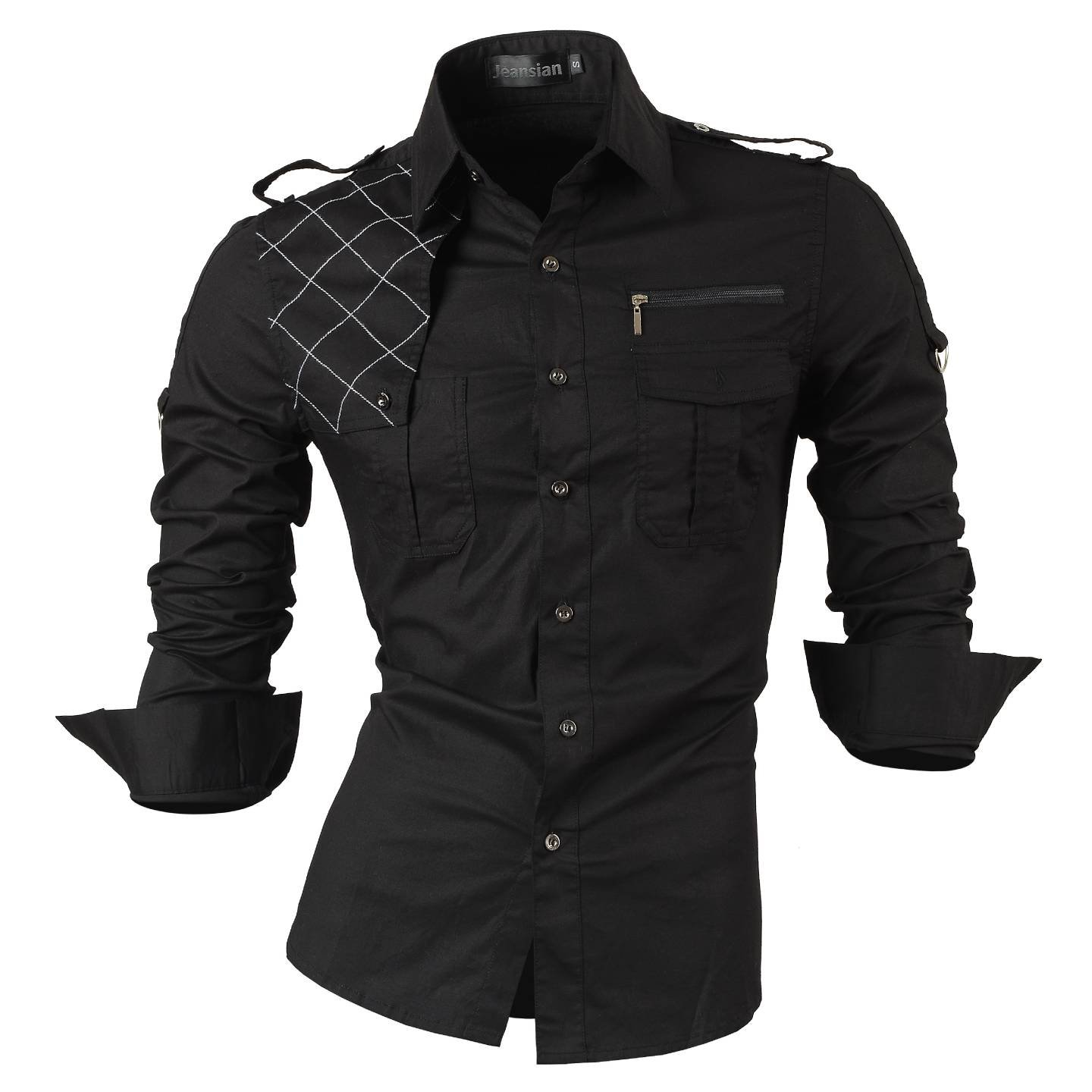 Jeansian De Manga Larga De Los Hombres De Moda Slim Fit Camisas Men Fashion Shirts 8397