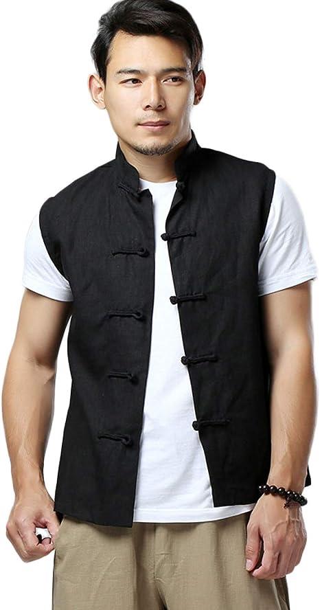 Chinese Vintage Linen Vest Summer Waistcoat Men Sleeveless Frog Button Shirt Top