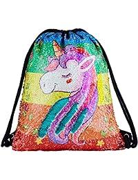 3668eb7e15 Sequin Drawstring Backpack Bag Mermaid Gym Dance Bags Magic Reversible  Glitter Bag Unicorn Gift for Girls