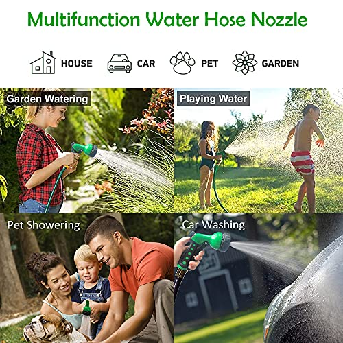 TRAVABEE Garden Hose Nozzle Sprayer, Heavy Dutye Water Hose Spray Nozzle with 8 Adjustable Spray Patterns, High Pressure Hand Sprayer with Flow Control for Watering Plants/Lawns, Washing Car/Pet