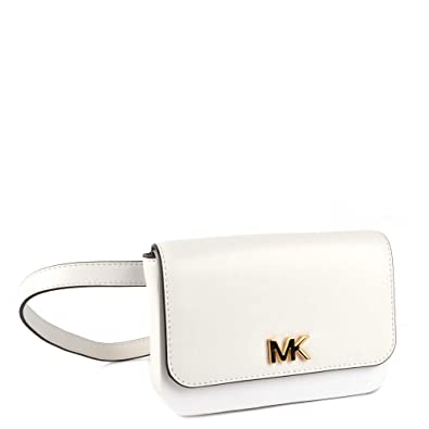 da735c59818b MICHAEL by Michael Kors Mott Optic White Leather Belt Bag one size Optic  White