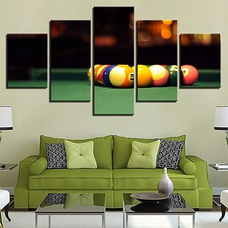 QJXX Deporte Impresiones Cuadros en Lienzo Mural Jugando al Billar Bolas de Mesa Imagen Snooker Pintura para Hogar Juego Habitación Club Bar Pared Decoración,A,40cm*60x2+40x80x2+40x100x1: Amazon.es: Hogar