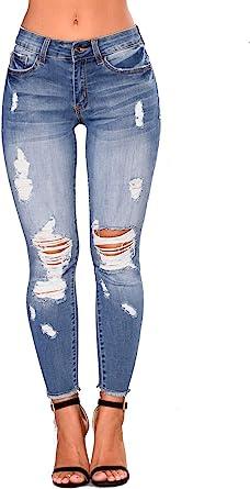 Amazon Com Jeans Ajustados Para Mujer Cintura Alta Elasticos Y Rasgados Clothing