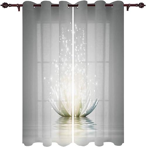 Grommet Window Curtain Artistic Lotus Flower Waterlily on Water Blossom Spiritual Meditation Theme Window Curtains Living Room Bedroom Decor,52 x 96 Inch