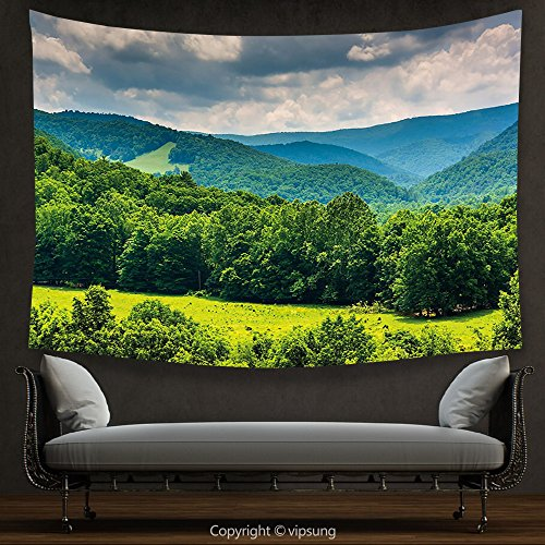 House Decor Tapestry Landscape View of Mountains in Potomac Highlands of West Virginia Rural Scenery Picture Forest Green Wall Hanging for Bedroom Living Room (Virginia Highlands Halloween)