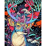 WOWDECOR Paint by Numbers Kits for Adults Kids, Diy Oil Painting - Fairy Tale Wonderland Deer 16x20 inch (Frameless)