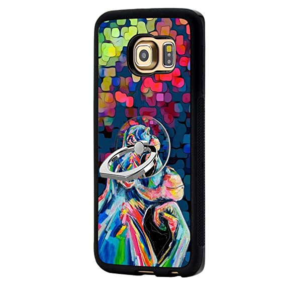 best service 064ed f434c Chimpanzee Samsung Galaxy S6 Edge Case with Ring Holder Stand TPU Rubber  Case Only for Samsung Galaxy S6 Edge