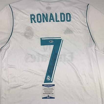 new style 3da75 89667 Autographed/Signed Cristiano Ronaldo Real Madrid White ...