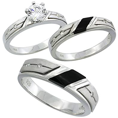 sterling silver cubic zirconia trio engagement wedding ring set for him and her 55 mm black - Wedding Ring Set For Her