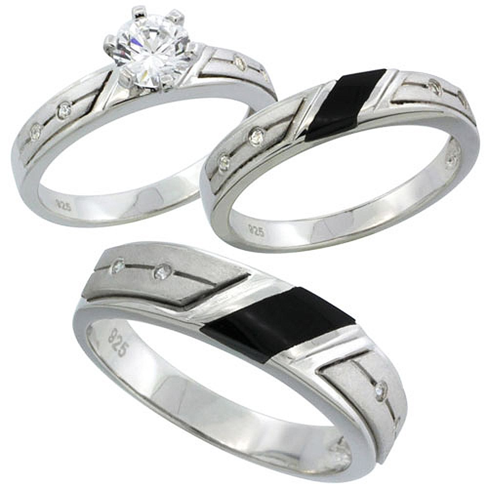 Sterling Silver Cubic Zirconia Trio Engagement Wedding Ring Set for Him and Her 5.5 mm Black Onyx, Ladies' Size 6.5