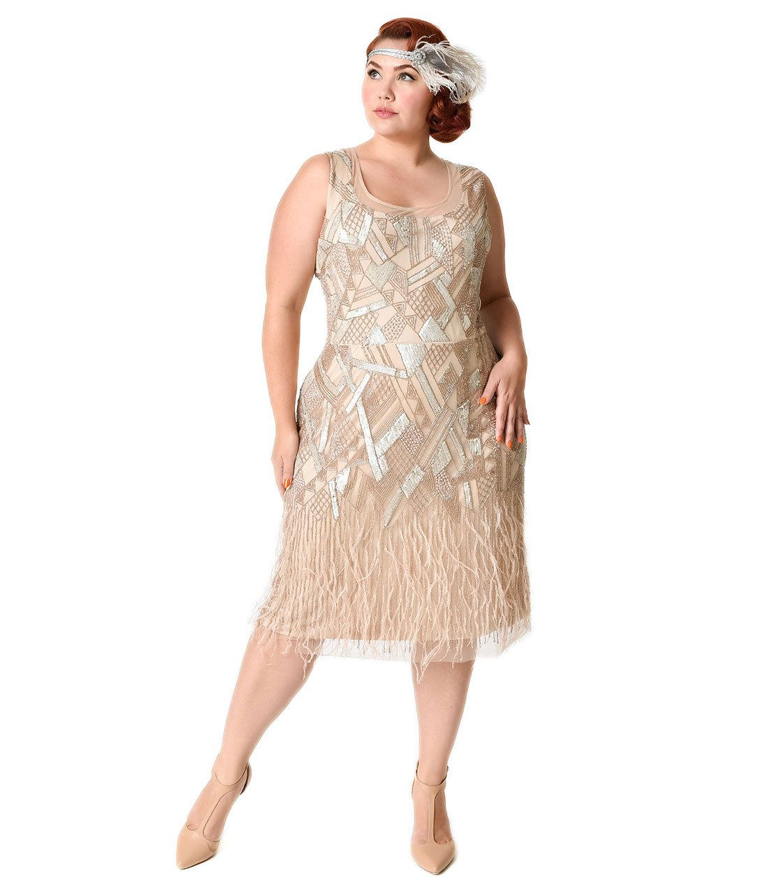 Plus Size 1920s Style Champagne Beaded Deco Feather Fringe Marilyn Flapper Dress by Unique Vintage