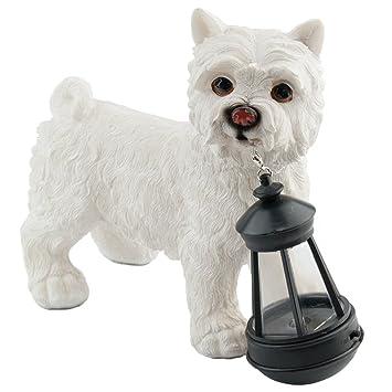 Dog Statue With Solar Lantern   Westie