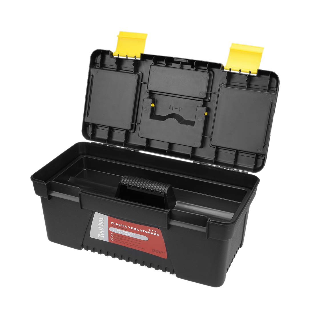Plastic Tool Box with Tray and Organizers Includes Removable Three Small Parts Boxes uxcell 14-inch Tool Box