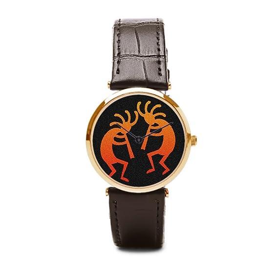 puppya correa de cuero reloj de pulsera, relojes baratos sudoeste desierto marrón/dorado