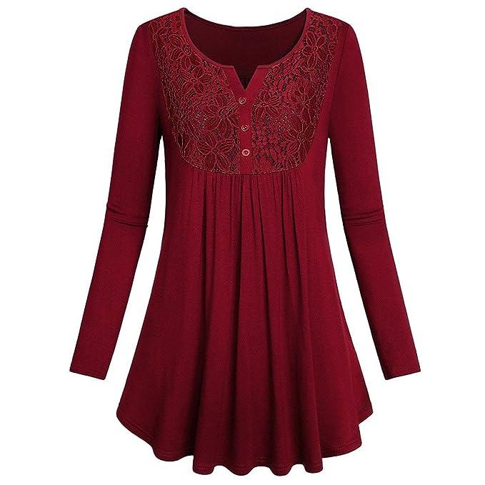Damen Langarmshirt Bluse Oberteile Top Longshirt Hemd Tunika Übergröße T Shirt
